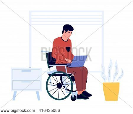 Disabled Man Work At Home. Male Sits In Wheelchair With Laptop. Accessible Job For Handicapped Peopl