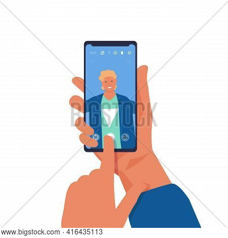 Man Taking Selfie On Phone. Cartoon Character Shooting Photos Of Himself On Smartphone. Young Male H