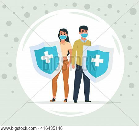 Protection Against Viruses And Bacteria. Man And Woman Protected From Coronavirus. People Under Dome