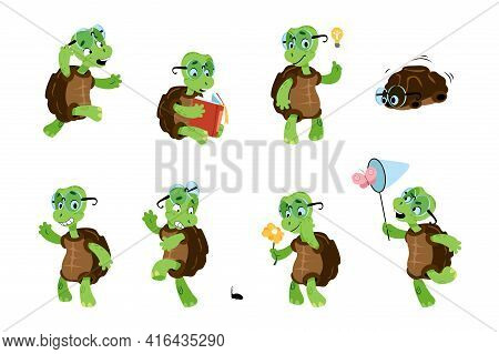 Cartoon Turtle. Green Child Tortoise. Baby Marine Animal Character With Different Poses And Emotions