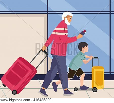 Family In Airport. Man And Boy Walks With Baggage. People Rolls Suitcases On Wheels. Male And Grands