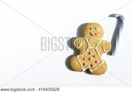 Figure Of A Smiling Gingerbread Man On A Light Background Sweet Dessert Figure Of A Man Kopi Space