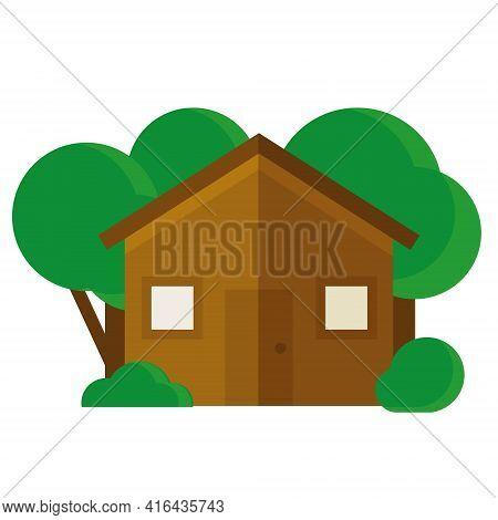 Farmhouse With Green Trees Icon Flat Design