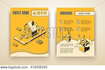 Vector Brochure Template With 3d Isometric House Moving - Travelling By Smart Technologies, Shipping