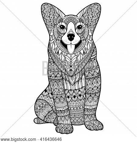 Zentangle Stylized Dog For Adult Coloring Page