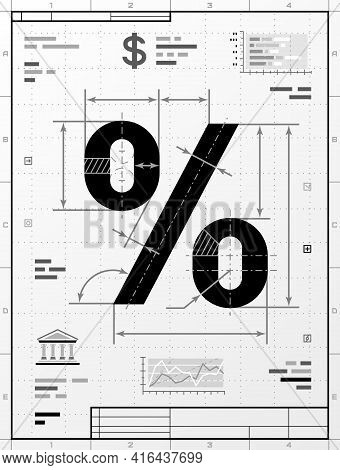 Percent Symbol As Technical Drawing. Stylized Drafting Of Percentage Sign With Title Block. Vector I