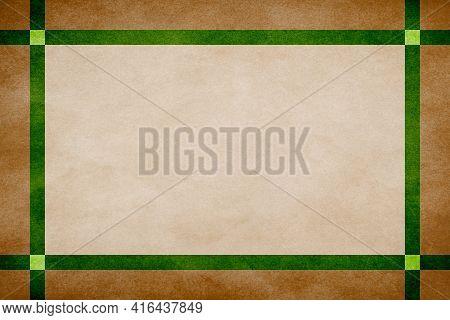 Brown Grunge Textured Frame Around Tan Textured Parchment Background With Green Grunge Textured Ribb