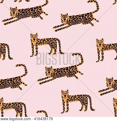Leopard Seamless Pattern. Wild Animal Leopard Print. Cartoon Funny Gepard.