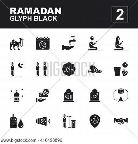 Icon Set Ramadan Made With Glyph Black Technique, Contains A Camel, Ramadan Day, Salat, Iftar, Praye