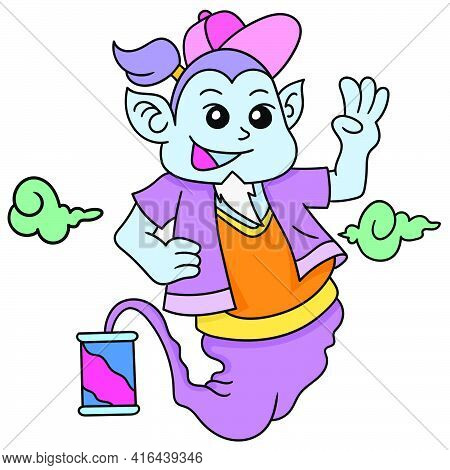 An Old Genie Came Out Of A Drink Can With A Smiling Face, Doodle Draw Kawaii. Vector Illustration Ar