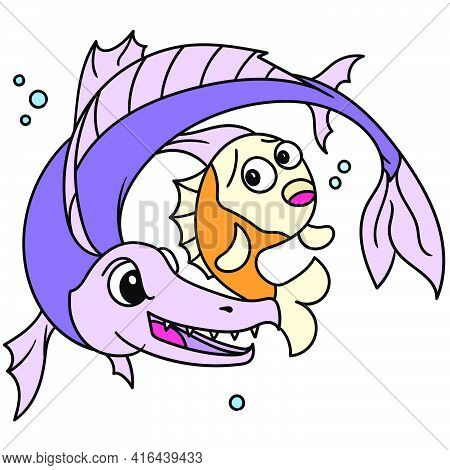 The Evil Fish Tries To Kill The Sad And Scared Little Fish, Doodle Draw Kawaii. Vector Illustration