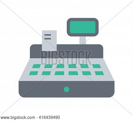 Cash Register Color Flat Illustration Isolated On White Background. Cash Register With Check Vector