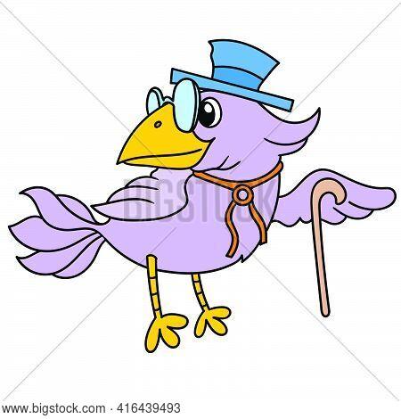 A Dark Purple Bird Wearing A Hat Carrying A Stick, Doodle Draw Kawaii. Vector Illustration Art