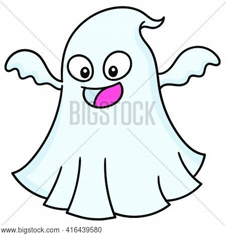 A Ghost With A Cute Face Laughed Trying To Frighten Him, Doodle Draw Kawaii. Vector Illustration Art