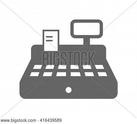 Cash Register Icon Isolated On White Background. Cash Register With Check Monochrome Vector Icon For