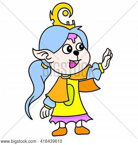 Beautiful Princess With Pretty Face Empress, Doodle Draw Kawaii. Vector Illustration Art