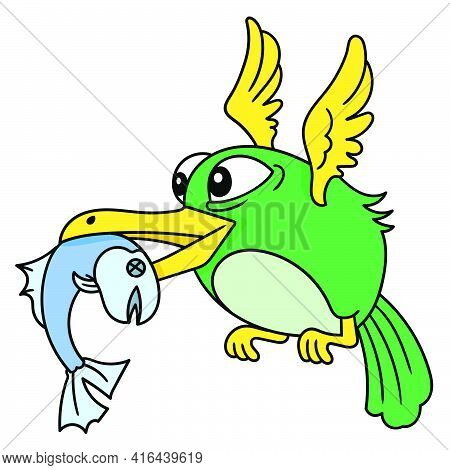 Birds Of Prey Carry Fish In Their Beaks While Flying, Doodle Draw Kawaii. Vector Illustration Art