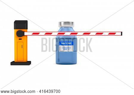 automatic barrier and vaccine from covid-19 on white background. Isolated 3D illustration