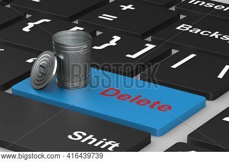 button delete on keyboard. 3D illustration