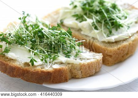 The Idea For The Simple And Healthy Breakfast - Sandwiches With Fresh Home Wholemeal Bread With Cott