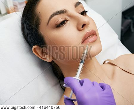 Lip Augmentation Procedure. Lips Filler Injection For Beautiful Womans Lip Augmentation With Beautic