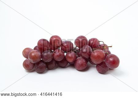 Grapes On A White Background. Isolated Pink Grapes. Bunch Of Grapes