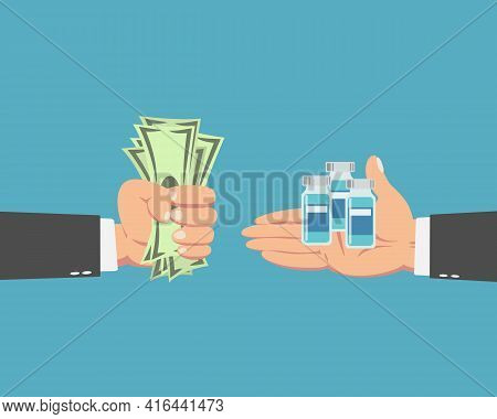 Hand Of Businessman With Money Buying The Coronavirus Vaccine Isolated On Blue Background.covid-19 C