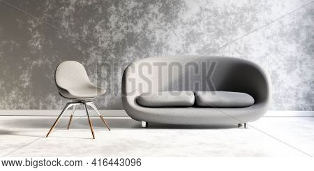 Comfortable Couch And And Chair Simple Grey Living Room Industrial Style Concrete Walls And Floor 3d