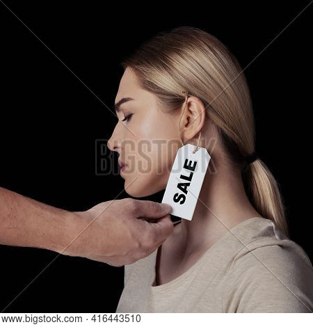 Domestic Violence, Humiliation, Slavery And Suffering. Guy Hand Touches Label