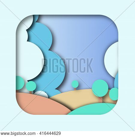 Papercut, Park In The Spring. Nature And Ecology. Blue Clouds And Brown Bumps. Green Trees.