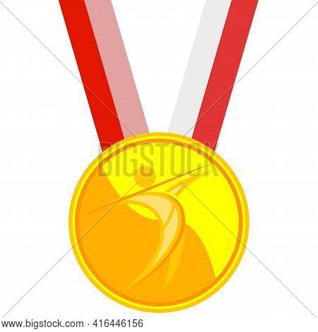 Gold Medal In Javelin Throw, Vector Art Illustration.