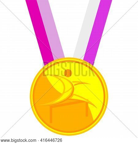 Hurdle Race Gold Medal, Vector Art Illustration.