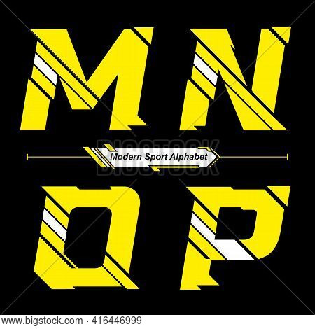 Vector Graphic Alphabet In A Set M,n,o,p With Abstract Yellow And White Modern Sport Font Style