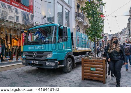 Beyoglu, Istanbul, Turkey - 03.12.2021: Blue Municipality Garbage Truck Parked On Istiklal Street An