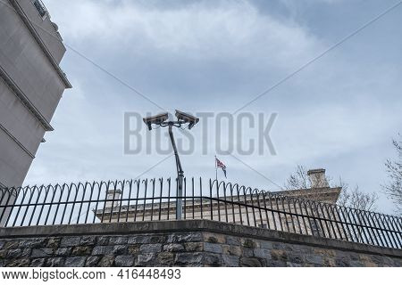 Taksim, Istanbul, Turkey - 03.20.2021: Surveillance Camera On Walls Of British Consulate General Ist