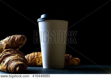 Croissant Texture. French Breakfast Croissants, Fresh Pastry Bread With Paper Coffee Cup In Bakery O