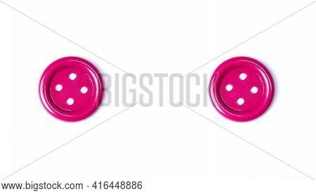 Pink Buttons On A White Background Close-up. Beautiful Bright Buttons Isolate For Cutting Out. Copy
