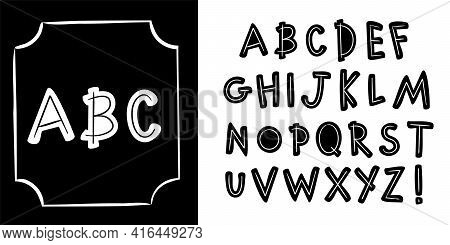 Set Of Doodle Black And White Letters. Hand Drawn Alphabet For Design, Posters, Banners, Advertising