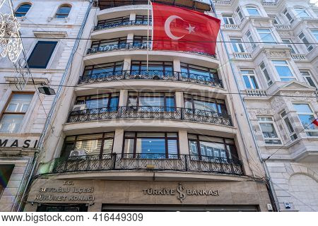 Taksim, Istanbul, Turkey - 03.12.2021: Building Of Beyoglu Government Office For Civil Registry Work