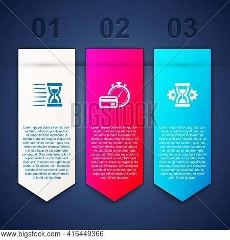 Set Old Hourglass With Sand, Fast Payments And Hourglass Setting. Business Infographic Template. Vec