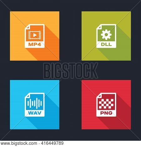 Set Mp4 File Document, Dll, Wav And Png Icon. Vector