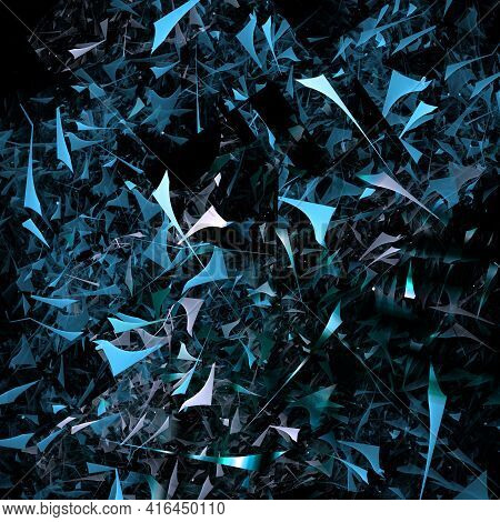 Blue Debris And Scraps Of Geometric Shapes Are Scattered Randomly Over The Black Background, Creatin