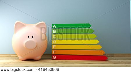 Energy Efficiency Class Next To A Piggy Bank As A Savings Concept, 3d Rendering