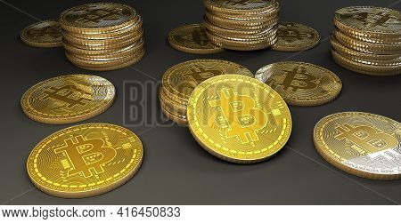 Multiple Bitcoins On Gray Background, 3d Rendering Concept