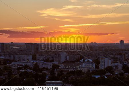 Nizhny Novgorod, Russia - 08.21.2020 - Nizhny Novgorod Cityscape Sunset. Beautiful Scenic Evening Ti