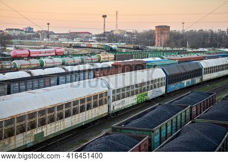 Kaliningrad, Russia - 12.07.2020 - Train Classification Yard With Wagons Loaded With Coal And Fuel.