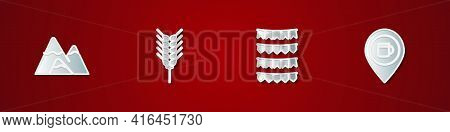 Set Mountains, Wheat, Carnival Garland With Flags And Alcohol Or Beer Bar Location Icon. Vector