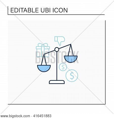 Inequality Line Icon. Economical Injustice.gap Between Rich And Poor, Wealth Disparity. Scales.unive