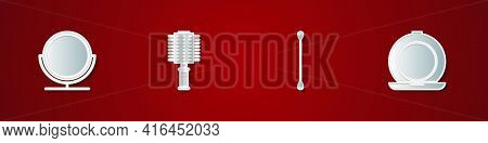 Set Round Makeup Mirror, Hairbrush, Cotton Swab For Ears And Makeup Powder With Icon. Vector