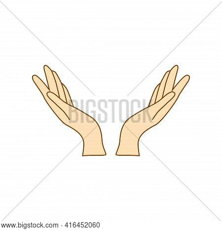 Female Hands Icon Linear Style, Hands And Fingers Design. Hands Open For Grace.